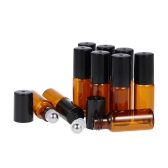 10 piezas 5 ml de aceites esenciales botella de rodillo de vidrio ámbar Roll-on botellas de acero inoxidable bola de bolas de aceite esencial Jar con 3ml cuentagotas
