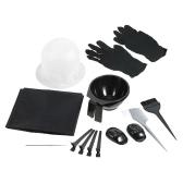Kit de coloração de cabelo Tingimento Bowl Brush Salão de beleza Avental Hair Cap Hook Secção Clips Hairdressing Dyeing Tool