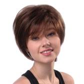 11 '' Perucas femininas Curtas Cabelos castanhos retos Perucas femininas reais com cabelo resistente ao calor