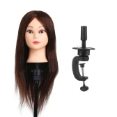 "26"" 100% Real Human Hair Training Head Hair Practice Manikin Head Hairdressing Dummy Salon Head With Hair Clamp Holder"