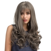 "24.8"" Gray Long Curly Hair Wigs with Bangs Natural High Density Hairpiece Heat Resistant Synthetic Women Girl Cosplay"