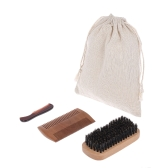 3Pcs Men's Beard Brush Comb Kit Amarelo Sandal Comb Moustache Brush Masculino Facial Cleaning Hair Brush Set w / Storage Bag