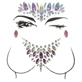 Big Classic Ceremony Face Breast Bling Gem Kit Cluster Self Adhesive Sticker On Jewels Украшение для тела Rhinestone Temporary Tattoo Jewels Праздничная вечеринка Glitter Stickers Easy To Operate