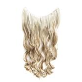 Extensiones de cabello de una pieza sin clip, largo y rizado