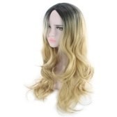 Женская прическа Градиент Цветные волновые завитки Длинные вьющиеся волосы парик