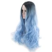 Peinado de las mujeres Color de degradado Onda Rizos Peluca de pelo largo y rizado