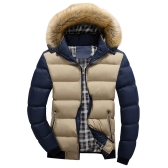 2017 roupas de algodão de penas de inverno masculinas Slim jaqueta de algodão casaco casual casual Khaki & Blue M