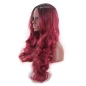 Onda de cor de gradiente de penteado de mulheres cachos peruca de cabelo longo encaracolado
