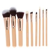 Abody 9Pcs Pinceles de maquillaje Kit profesional de maquillaje cosmético Mango de madera Cepillo de pelo de cabra Superfine Fiber Brush + Estuche de bolsa