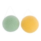 2 teile / paket Gesichtsreinigung Konjac Schwamm Gesicht Waschen Puff Natürliche Peeling Tiefenreinigung