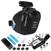 Portable  Bicycle Saddle Bag with Repair Tools Kits Waterproof Cycling Rear Seat Post Bag with 16 in 1 Bicycle Repair Multifunctional Tool Reflective Large Capacity Tail Rear Bag MTB Road Bike Bag Shockproof Bicycle Storage Bag Bike Accessories