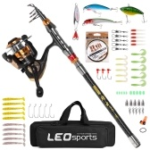 Fishing Rod and Reel Combo Carbon Fiber Telescopic Fishing Rod with Spinning Reel Combo Carrier Bag Case Saltwater Freshwater Travel Fishing Lures Jig Hooks Full Kit