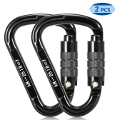 2pcs 25KN Auto Locking Gate Karabiner Snag Free Clip