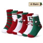 6 Pairs Christmas Holiday Socks
