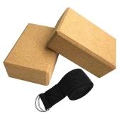 Yoga Cork Blocks With Adjustable Yoga Stretching Strap Yoga Cork Wood Bricks Adjustable Yoga Belt Yoga Band