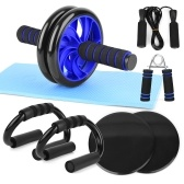 8 PCS Abdominal Roller Wheel Knee Pad Push up Bars Disc Core Slider Jump Rope Hand Gripper Pack Kit for Home Gym Fitness