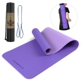 TOMSHOO 72.05×24.01in Portable Double Dual-colored Yoga Mat Thicken Sports Mat Anti-slip Exercise Mat for Fitness Workouts with Carrying Strap and Storage Bag