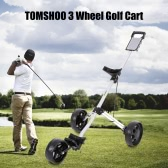 TOMSHOO Golf Cart Foldable 3 Wheels Push Cart Aluminum Pull Cart Trolley with Footbrake System