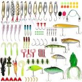 Lixada 106pcs Fishing Lures Tackle Mixed Hard Baits Soft Baits Popper Crankbait VIB Topwater Floating Fishing Lures Ganchos Pesca Acessórios Kit Set com caixa de armazenamento
