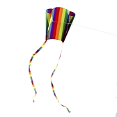 カラフルなパラフォイルカイト200メートルの尾30メートルフライングライン子供のためのアウトドアソフトフライカイトおもちゃ