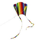 Colorful Parafoil Kite with 200cm Tails 30m Flying Line Outdoor Soft Fly Kite Toy for Kids