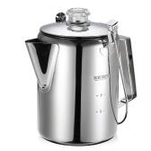 Outdoor 9 Tasse Edelstahl Percolator Kaffeekanne Kaffeemaschine für Camping Home Küche
