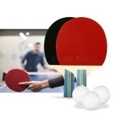 Set di due racchette da ping pong con 2 paddle da ping pong e 3 sacche da ping pong