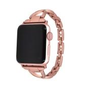 Diamantes de las mujeres Inserted Strap Pulsera Jewelry Fashion Elegante pulsera de acero inoxidable Watch Band para Apple Watch