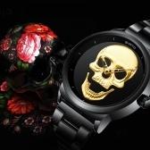 Moda legal relógio de padrão de caveira 3D