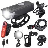 Conjunto de luzes de bicicleta recarregáveis USB para bicicleta com rotação de 360 ° Suporte para garrafa de água com bloqueio de bicicleta anti-roubo Espelho de ciclismo de sino de bicicleta