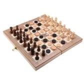 Scacchiera pieghevole in legno tre in uno Scacchiera in legno massello Dama Gomoku Set di scacchi