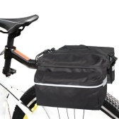Bicycle Pannier Bag Bike Rear Rack Large Capacity Reflective Strips Adjustable Storage Bags for Outdoor Cycling Traveling Black