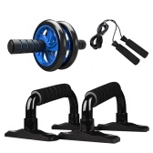 4-em-1 AB Roda Rolo Kit Abdominal Press Wheel Pro com Push-UP Bar Corda de Salto e Joelheira