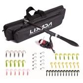 Lixada Портативная телескопическая удочка и комбинированная катушка для путешествий, полный комплект рыболовных снастей, с спиннингом, мягкие приманки, джиг-крючки, сумка для переноски