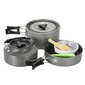 Juego de utensilios de cocina para acampar ligero Senderismo Backpacking Juego de Picnic para cocinar al aire libre Camp Pot Bowl Juego de tetera para olla de cacerola para 2-3 personas