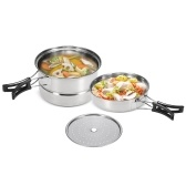 3Pcs Stainless Camping Cookware Set