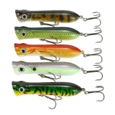 Lixada 5 PZ Fishing Lure Hard 3D Simulazione Esca Big Esca Artificiale Popper Topwater Bait Treble Hook Strumento di pesca