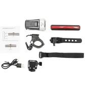 USB Ricaricabile Super Bright Headlight e Red fanale posteriore della luce della bici Impostare le luci di avvertimento impermeabile per la bicicletta all