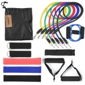 Lixada 15Pcs Resistance Bands Set Workout Fintess Exercise Rehab Bands Loop Bands Tube Bands Door Anchor Ankle Straps Cushioned Handles with Carry Bags for Home Gym Travel