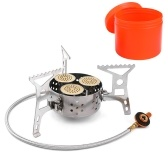 9000W High Power Camping Stove Portable Three Core Head Camp Stove with Steel Braided Hose Windproof Gas Stove Burner for Outdoor Camping Hiking Cooking
