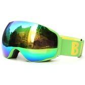 Strap per adulti Sci Snowboard Pattinaggio Goggles Protezione UV anti-fog largo sferica PC Lens antiscivolo del casco compatibile