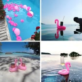 ​6pcs Mini Flamingo Floating Inflatable Boat Cup Holder Phone Holder Drink Holder Support Swimming Pool Toys for Adults Kids