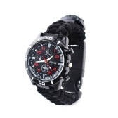 Multifunction Woven Strap Outdoor Survival Camping Watch with Compass Rescue Equipment Tool
