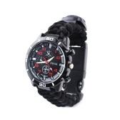 Multifunktionsgewebter Bügel-im Freienüberlebens-kampierende Uhr mit Kompass-Rettungsgerät-Werkzeug