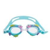Niños lindos de la historieta que nadan las gafas