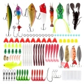 102pcs Fishing Lure Set Soft Fishing Lure Hard Metal Lure VIB Crank Popper Minnow Metal Jig Hooks for Tackle Box