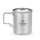 TOMSHOO 450 ml taza de titanio al aire libre que acampa taza de la taza de agua de picnic con una tapa plegable mango
