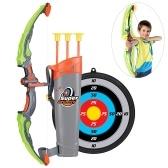Kinder Bogen und Pfeil Spielzeug Set Leuchten Bogenschießen Bogen Set mit Ziel Köcher 3 Saugnapf Pfeile Outdoor-Spielzeug für Kinder 6-14 Jahre alt