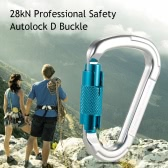 25kN Professional Safety D Buckle Autolock Self Locking Aluminum Alloy Carabiner for Outdoor Survival Mountaineering Rock Climbing Caving Rappelling Rescue Engineering