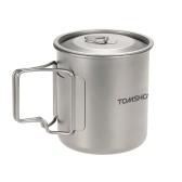 TOMSHOO 420ml Titanium Water Cup Picnic Camping Caneca com Tampa